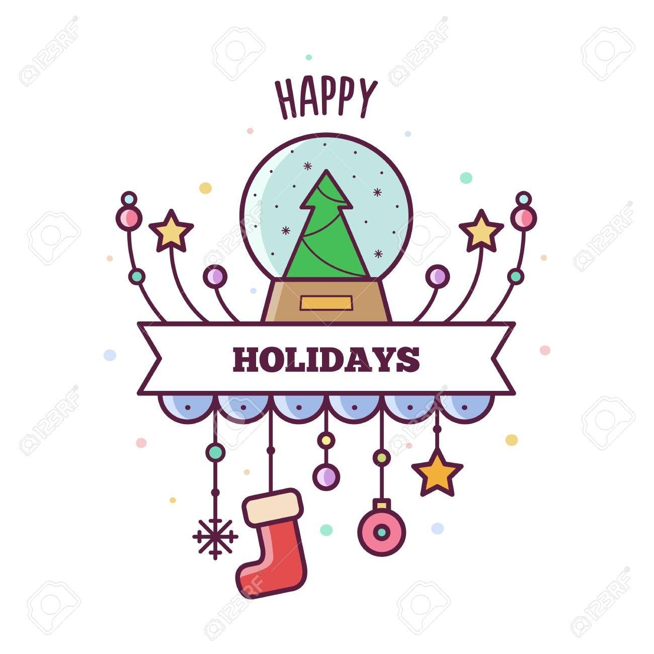 Happy Holidays Vector Illustration Affiliate Holidays Happy Illustration Vector Birthday Card Drawing Christmas Journal Bullet Journal Doodles