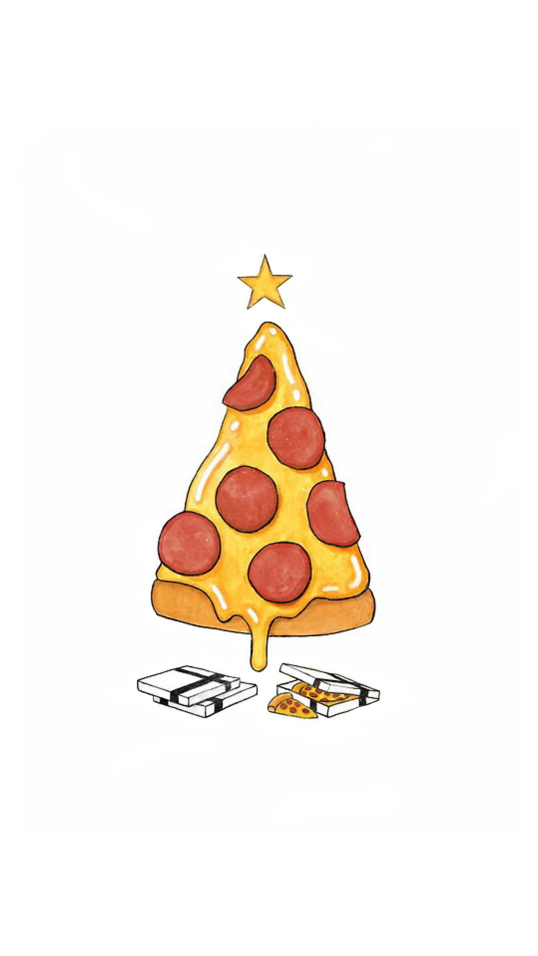 Pizza Christmas Tree Presents Iphone 6 Hd Wallpaper Fond