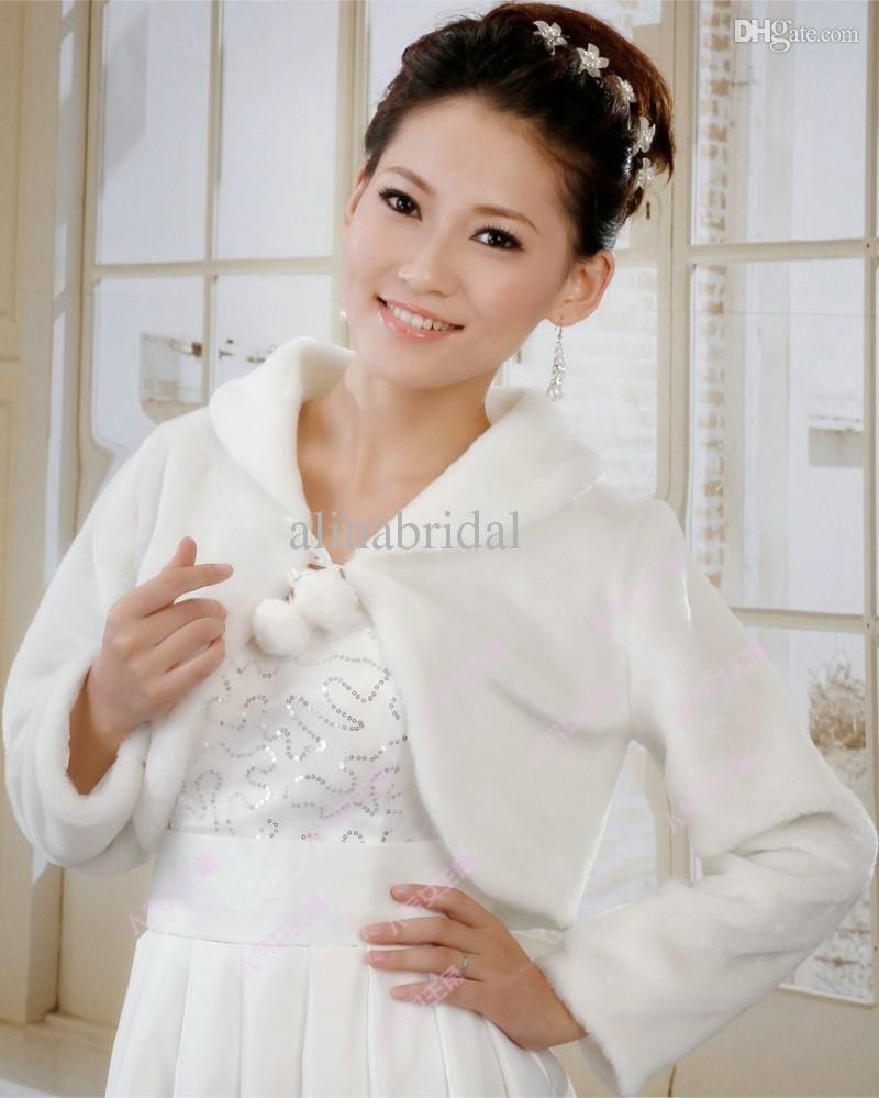 Fur wedding dress  Wholesale Bridal Wraps  Buy Cheap White Long Sleeve Fur Bridal