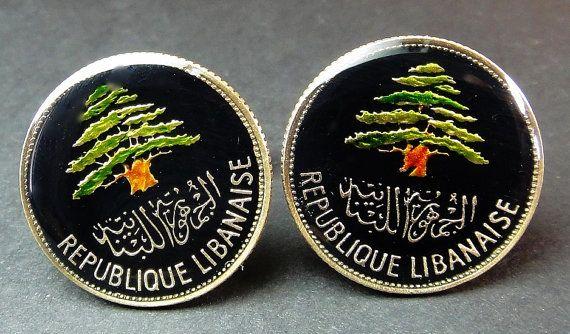 Lebanon coin cufflinks 25 piastres 23mm