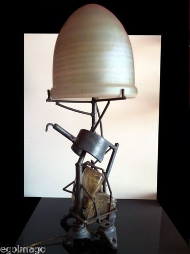 Rare lampe sculpture signée s contini vers 1980 art brut in art antiquités art brutart decofurnitureobject