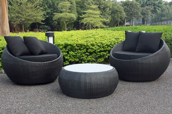 Superb Cocoon Swivel 3 Piece Outdoor Balcony Setting Black/Black | Small Balcony  Furniture | Urban