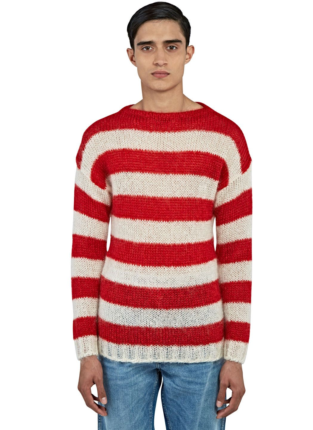 abb87af2789 GUCCI Men S Striped Mohair Knit Sweater In Red And White.  gucci  cloth