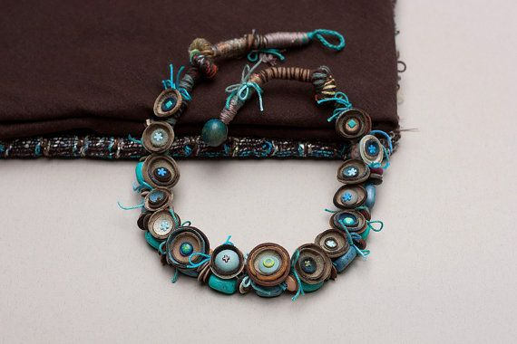 Chunky art necklace beaded mixed media jewelry blue by rRradionica