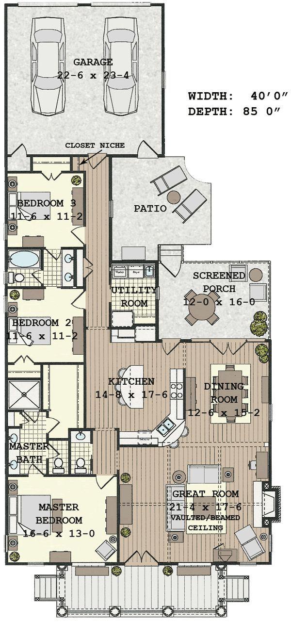Fabulous Floor Plan For Narrow Lotfloor Plans Housesfloor With Block