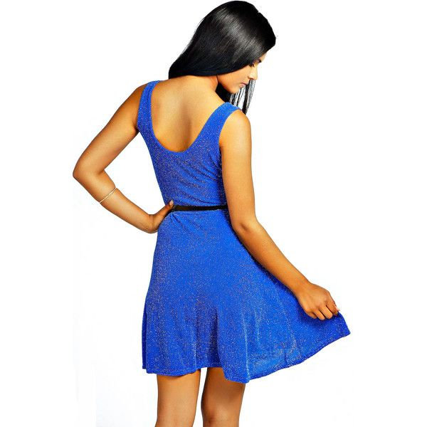 Sleeveless Sequined Backless Blue Dress ($15) ❤ liked on Polyvore