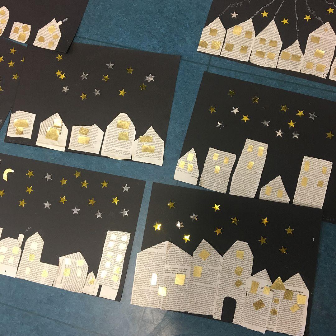 Die schnelle Kunststunde Ende November/Anfang Dezember: weihnachtliche Stadt unterm Sternenhimmel. Dazu die Weihnachts-CD schön aufdrehen