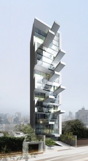 DCCP Arcquitectos' rendering of Sky Condos, their proposed 20-floor residential tower in Lima, Peru. With cantilevered swimming pools and a mostly transparent exterior.