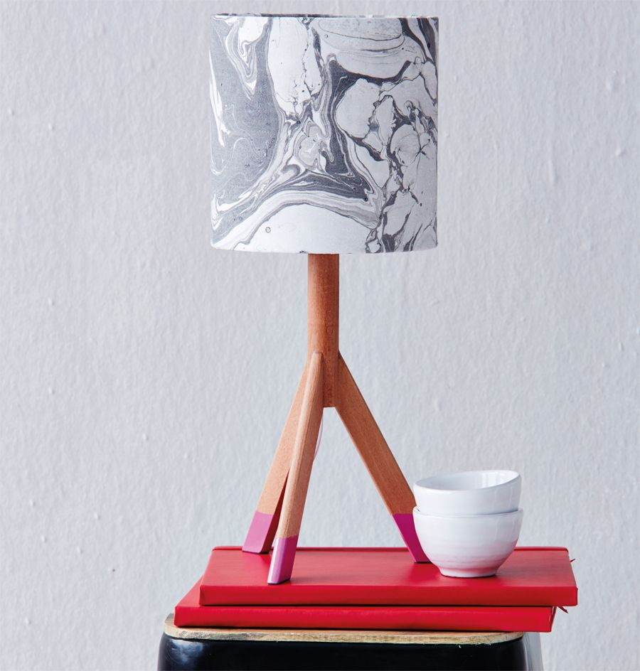 Marble printed lampshade using enamel paint | Step-by-step Craft ...