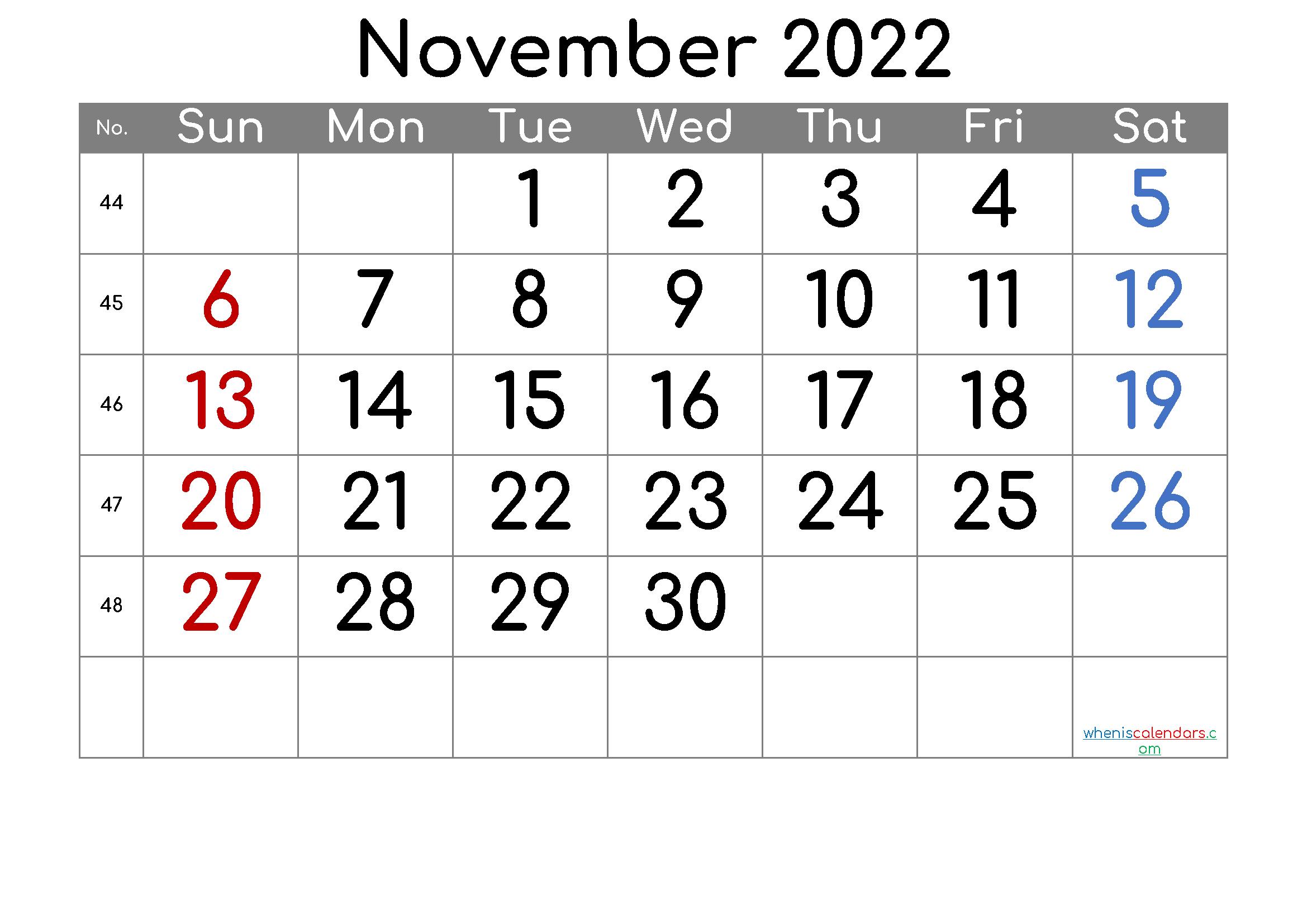 Calendar November 2022.November 2022 Printable Calendar 6 Templates Calendar Printables June Calendar Printable 2021 Calendar