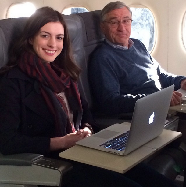 """Anne Hathaway Robert De Niro Movie: """"Shooting Annie And Bob On A Plane Today! Love Shooting On"""