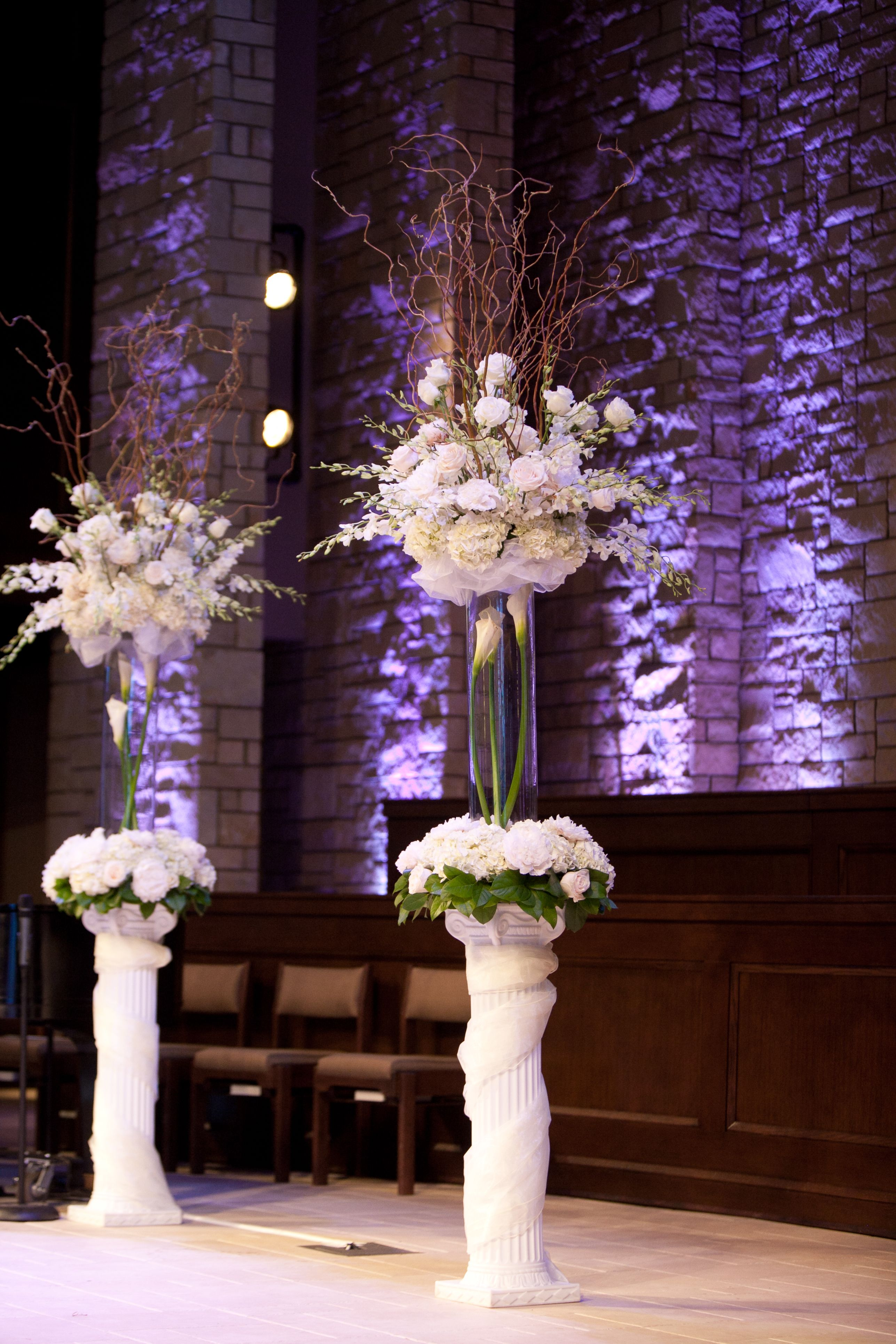 Wedding Ceremony Flowers Tall Vases With Beautiful Wrapped