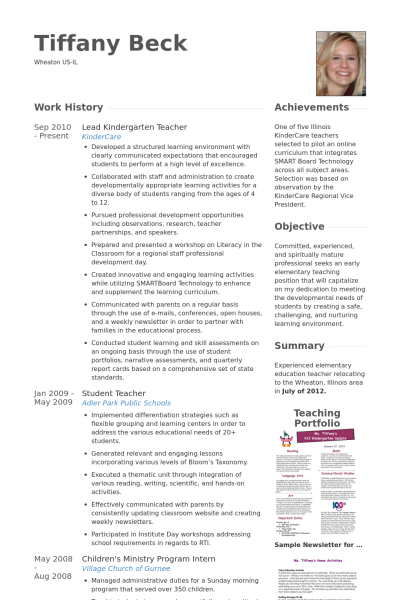 Resume Format Kindergarten Teacher Format Kindergarten Resume