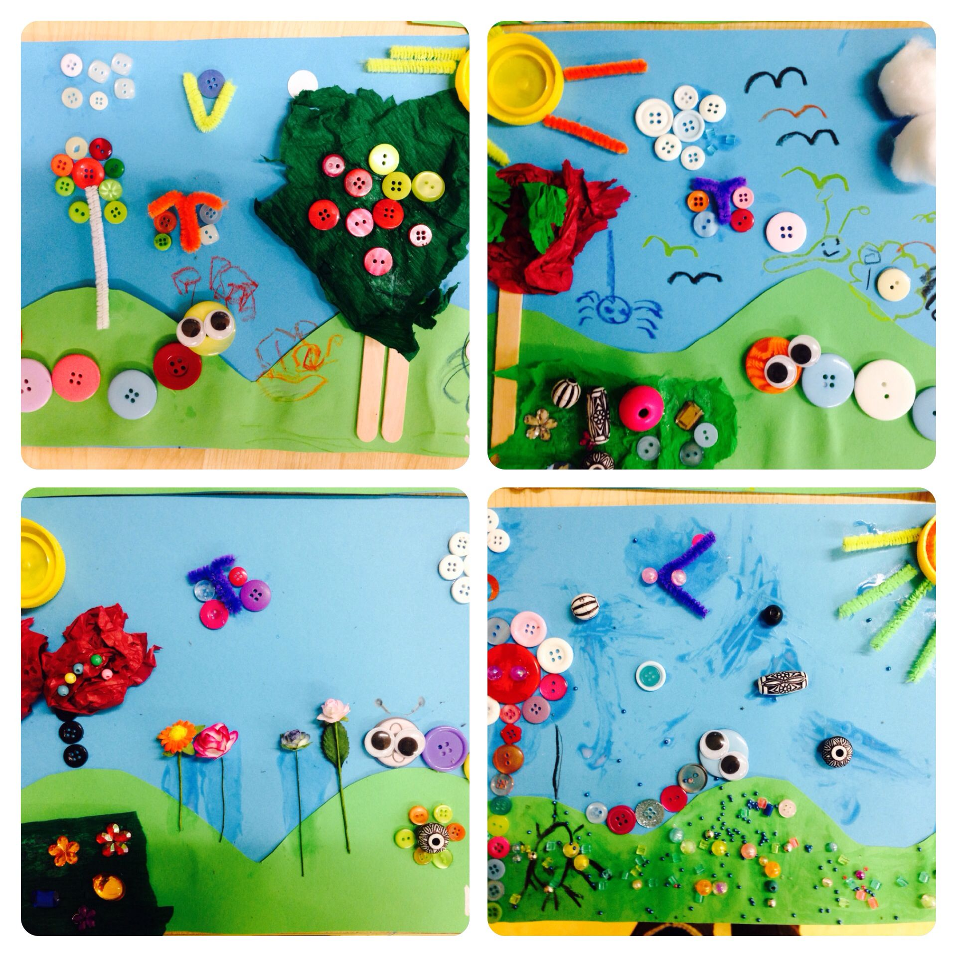 springsummer button and beads kids art and craft recycled materials art idea - Garden Art Ideas For Kids