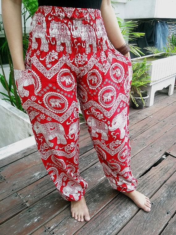 Red Yoga Elephant Pants Harem Boho Style Printed Design Casual Beach Hippie  Massage Rayon pants Gypsy