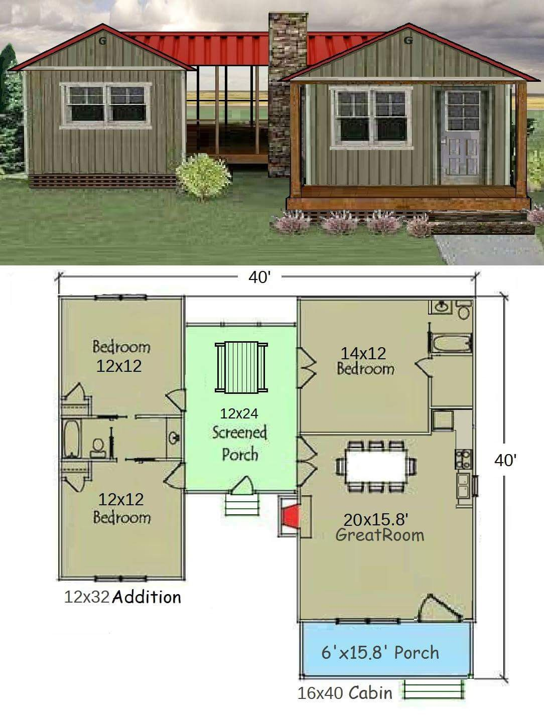 Spacious Home Using A Graceland Cabin Garden Shed Connected With A Screened Porch Shed With Porch House Plans Tiny House Cabin