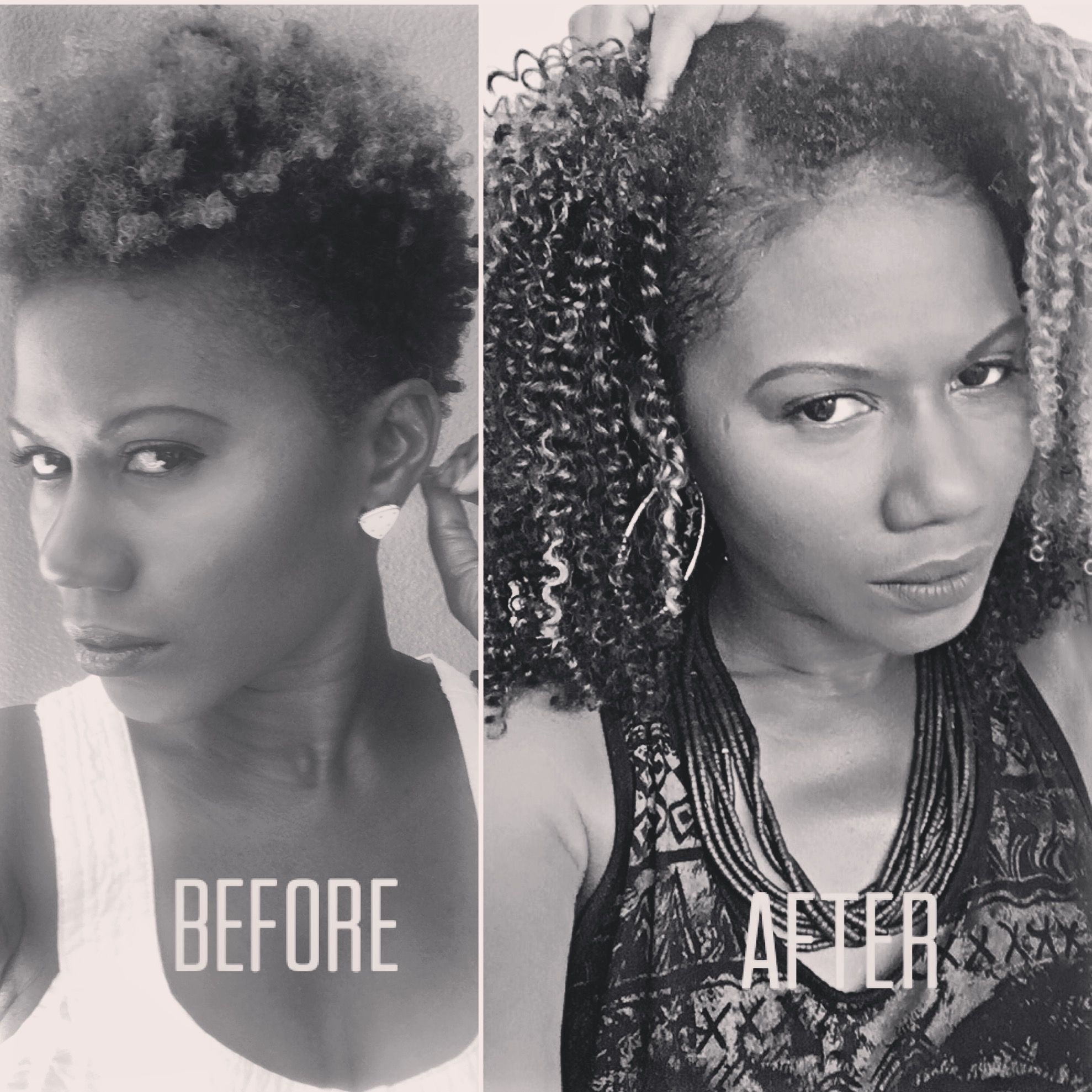 Brazilian Knots Extensions Before After On Natural Curly Hair