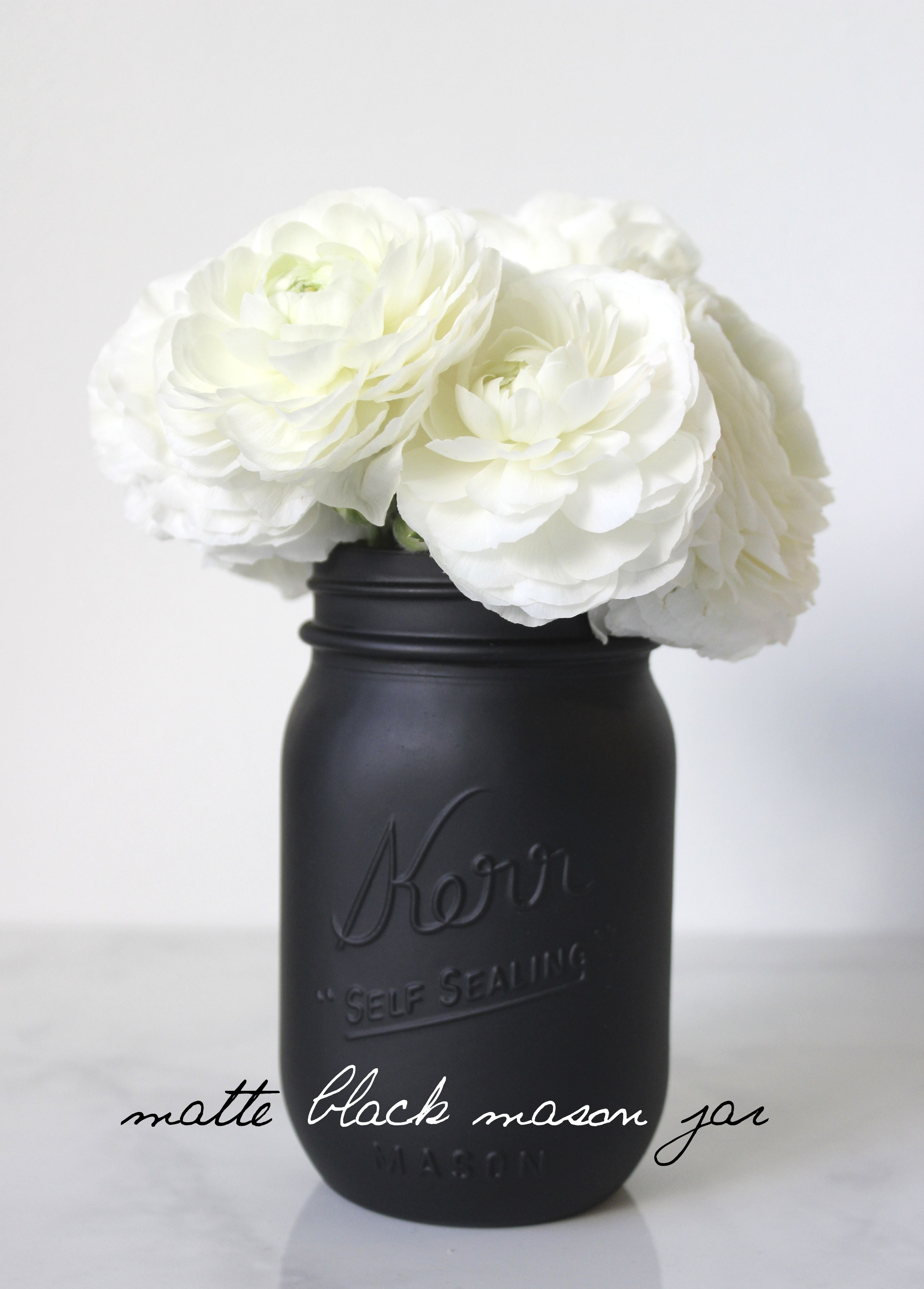 You Can Complete The Look Of A Room Or The Theme Of A Party In Just Seconds With These Painted Jars Description Fro Matte Black Mason Jar Room Diy White Decor