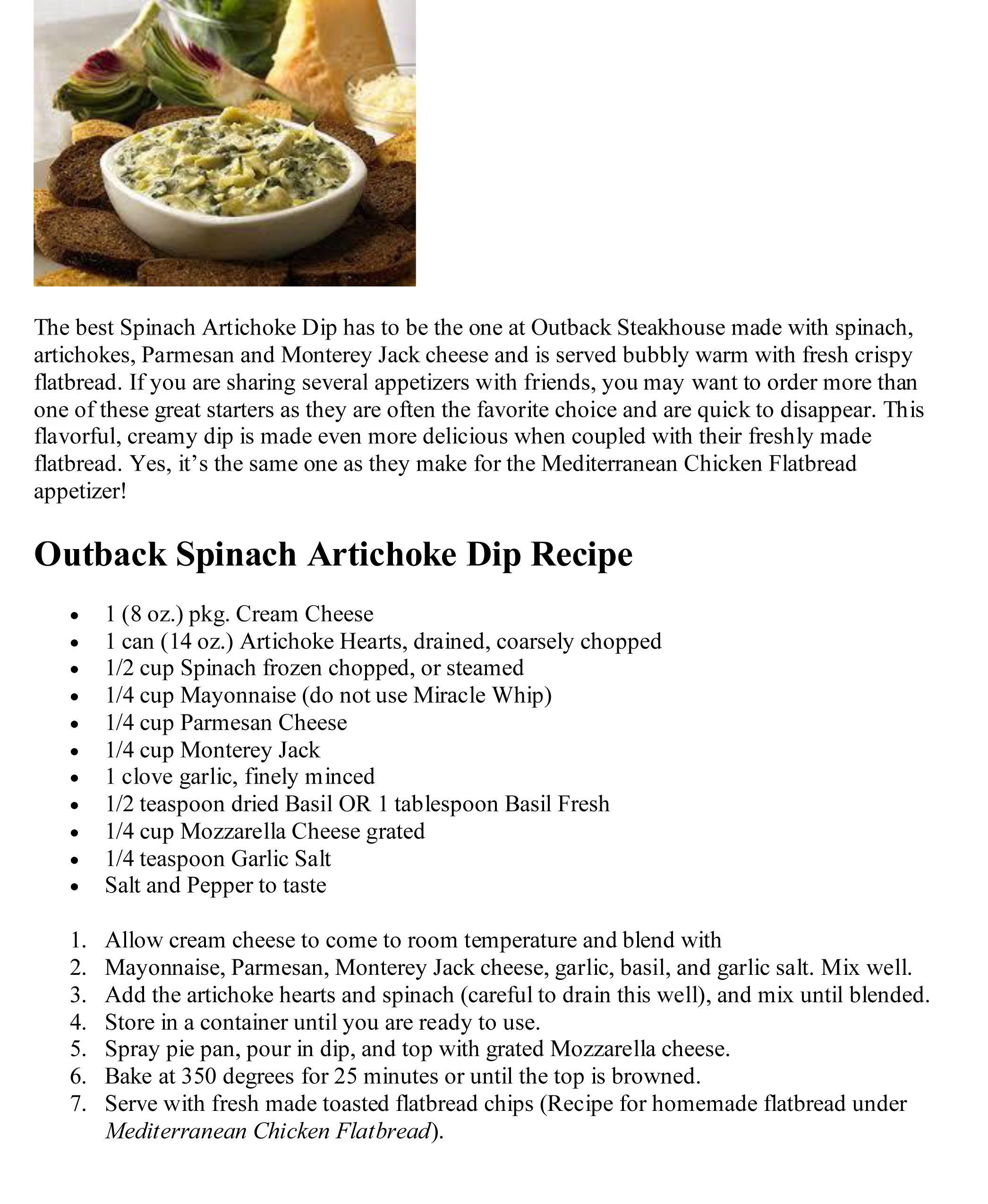 Outback Spinach Artichoke Dip | Delish! | Pinterest | Artichokes ...