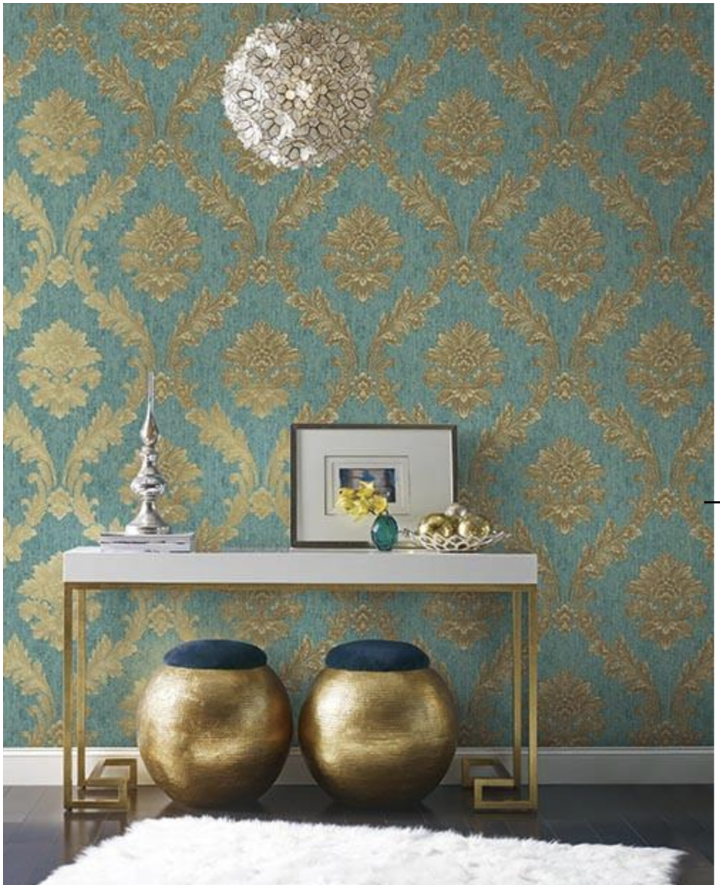 Acanthus Fan Wallpaper In Gold Turquoise And Brown By Anto