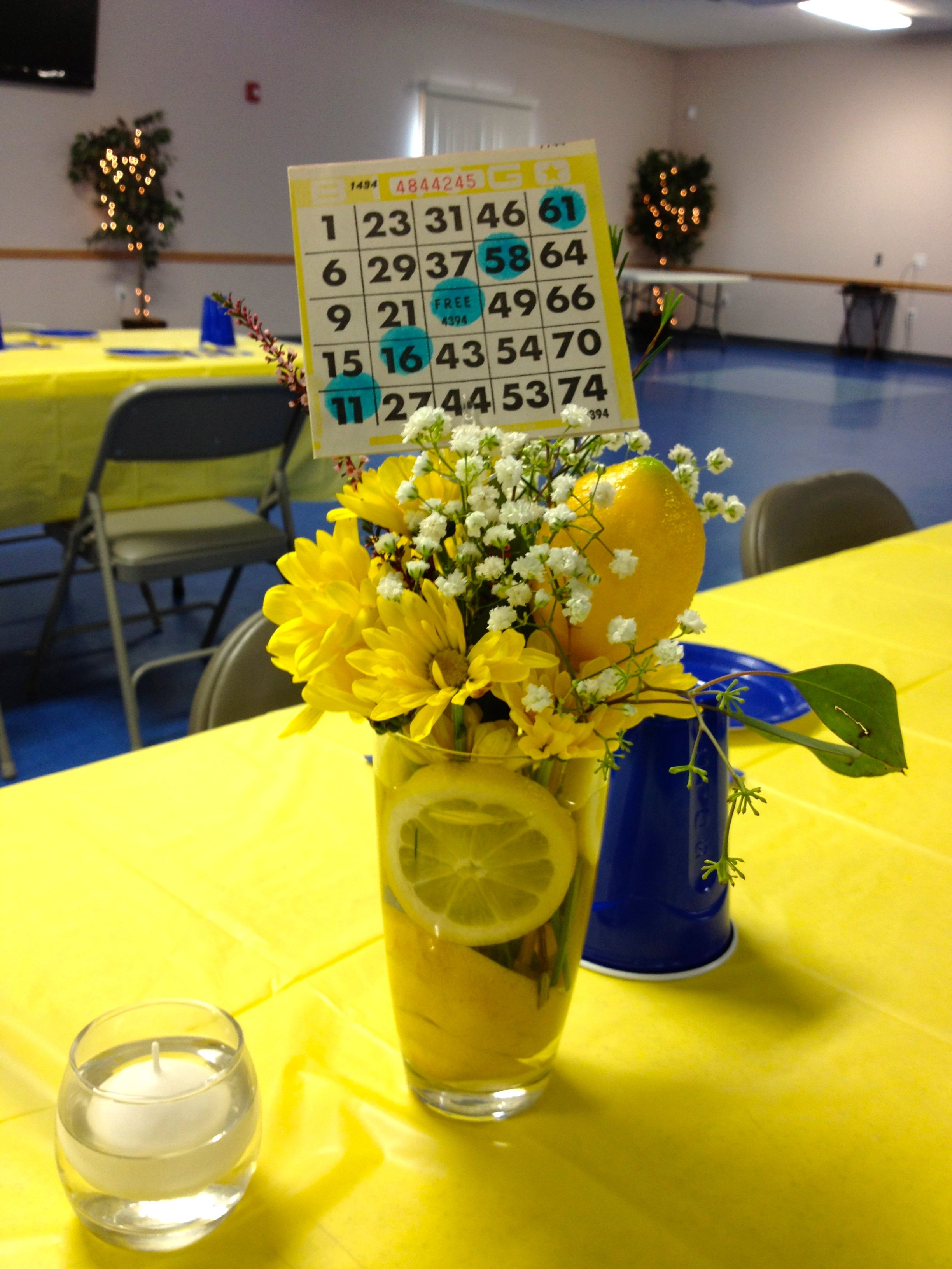 This Was The Table Decor For A Surprise 50Th Bingo