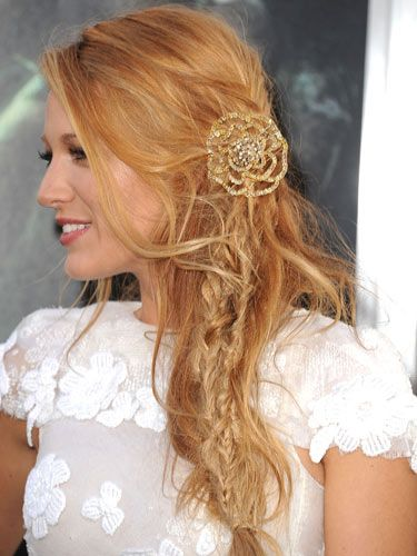 Brides who balk at the notion of prim and proper can try out Blake Lively's teased look. Just remember, sparkly baubles are essential to dress up these distressed 'dos. Getty Images -Cosmopolitan.com
