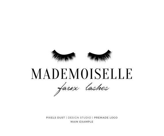 Lashes Logo Premade Design Makeup Beauty Blog Fake Gold Foil Watermark Minimalist Icon