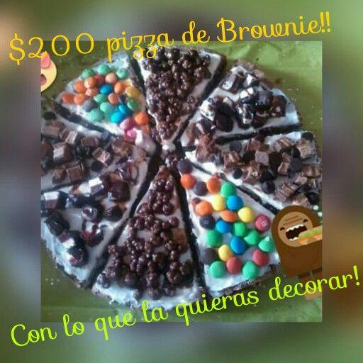 Llévate tú Brownie tipo pizza!  $200 pesitos...  Mándame inbox Anii  MFonseca en Facebook. Para más detalles. Y llévate este linfo regaló para este  día del Amor y la amistad ❤