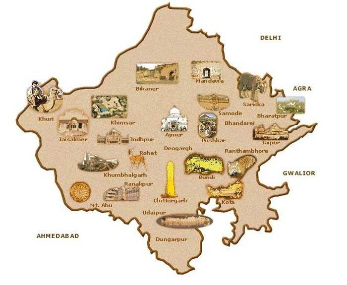 Rajasthan Tourism Map Rajasthan Tourist Map | Northern India | India travel, India