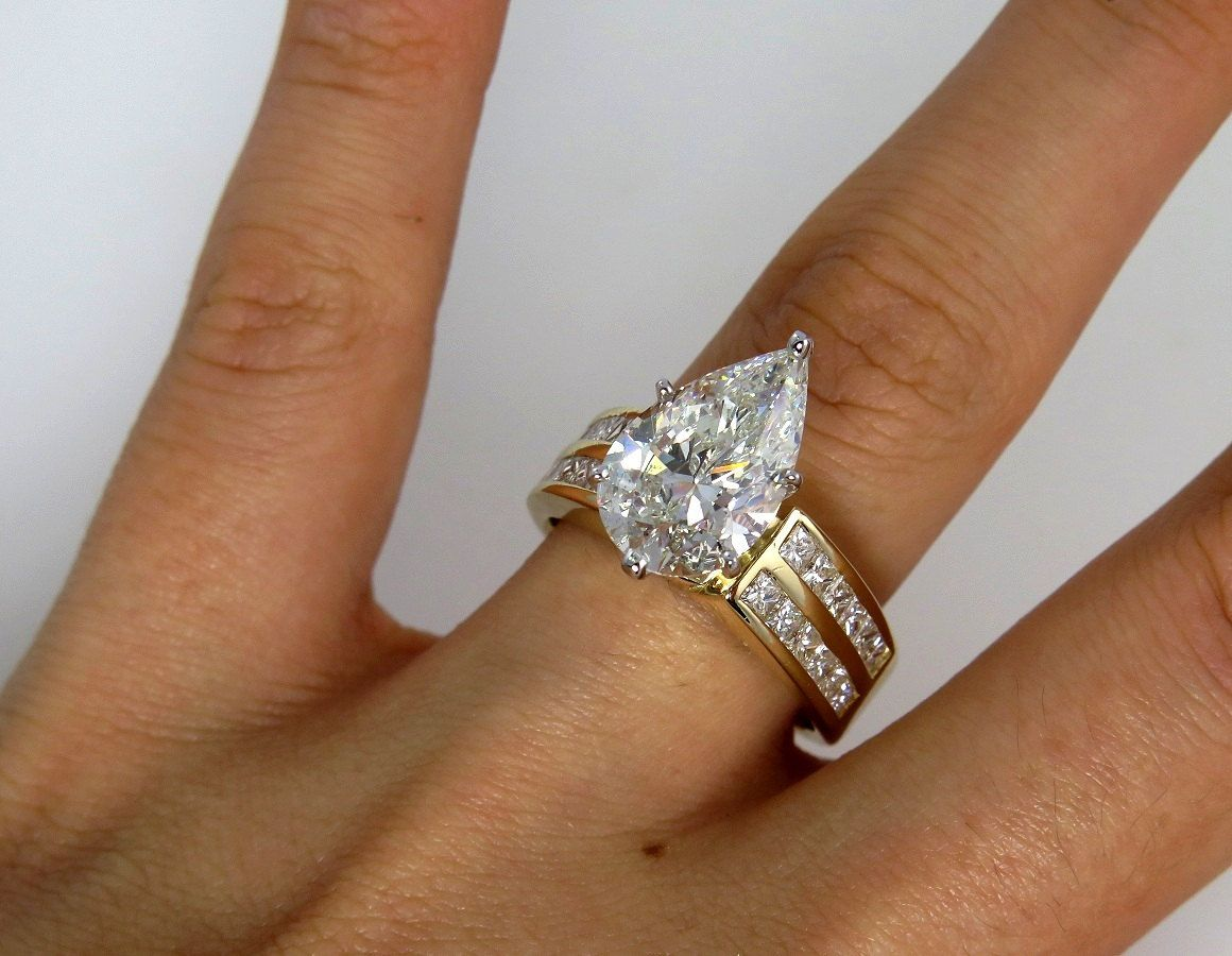 shaped nl stone yg diamond rings in white gold with engagement and band baguette pear thick ring yellow side jewelry