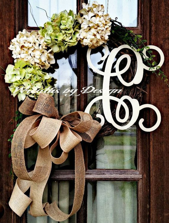 Wreaths Green Hydrangea Wreath Front Door By WreathsbyDesign1