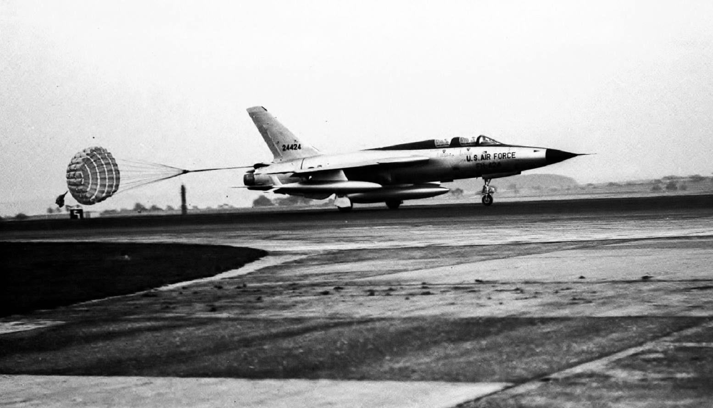 Republic F105F (S/N 624424) landing with drag chute. (U