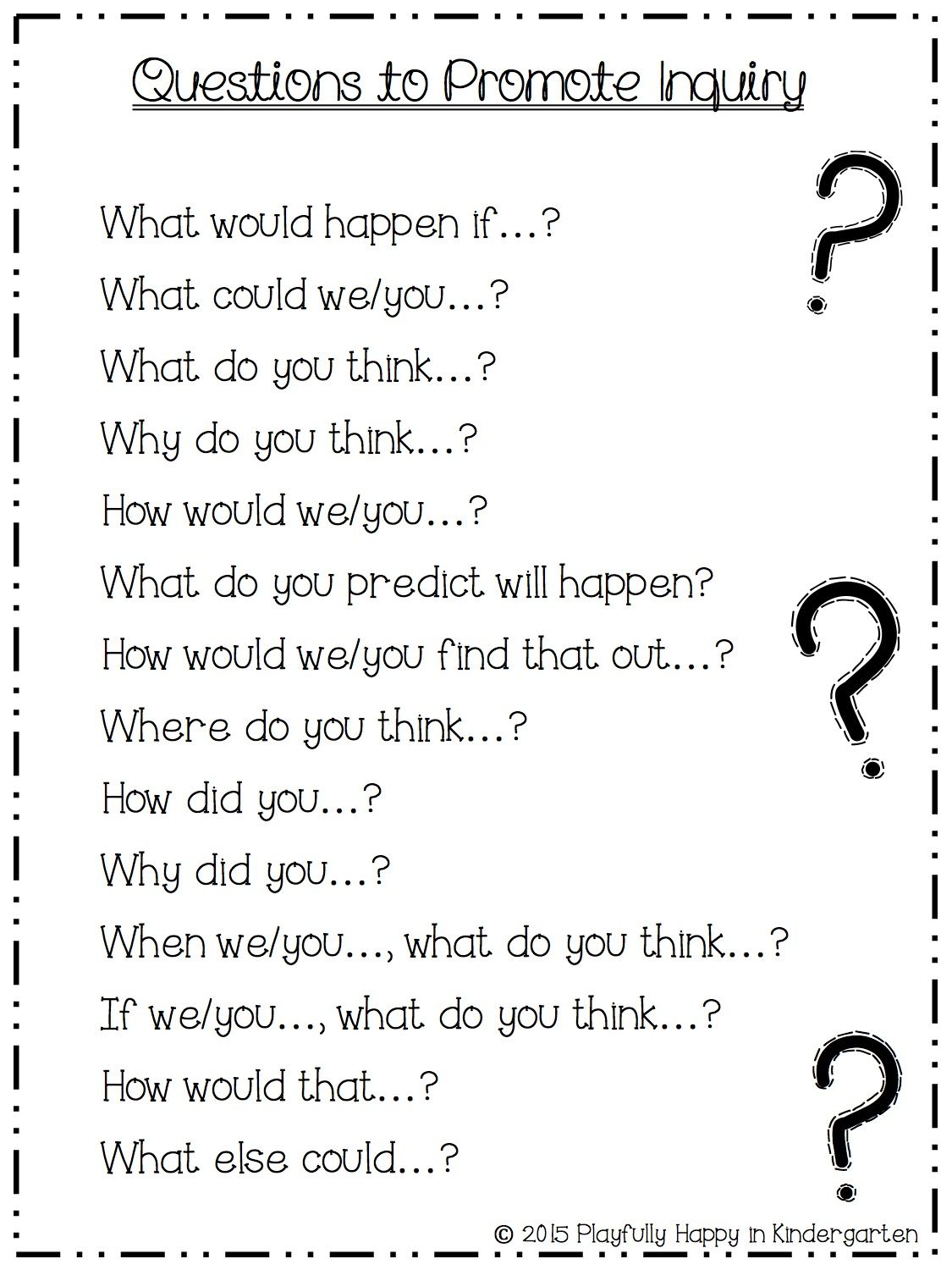 Questions To Promote Inquiry Open Ended Questions Inquiry