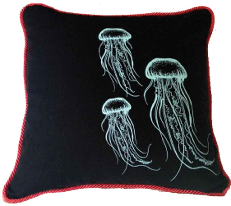 Golden monkey organic cotton cm x cm black jellyfish cushion