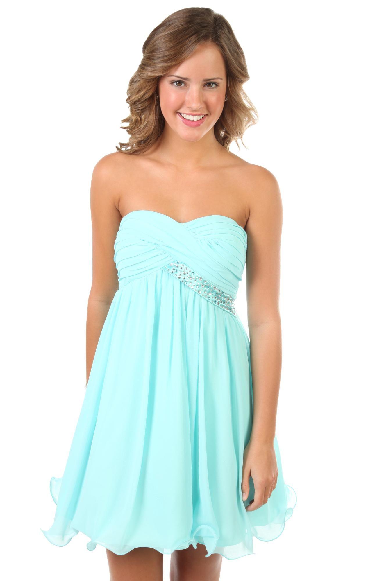 strapless short prom dress with rhinestone bust trim | Dream closet ...
