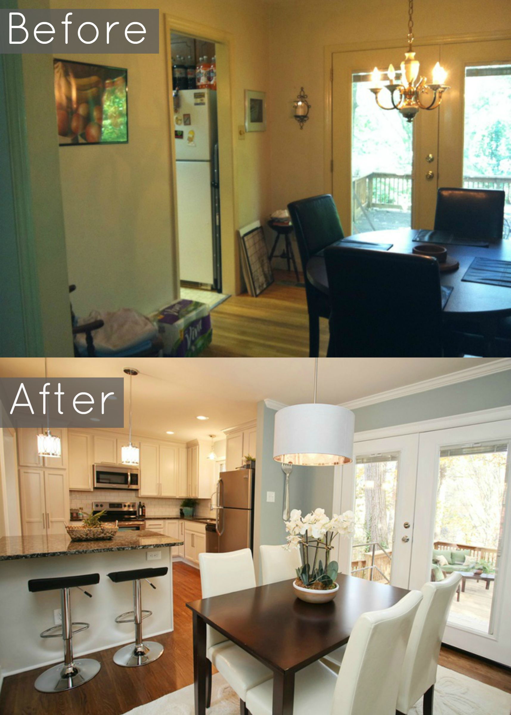 Before And After Pic We Removed Wall Into Dining Room And Created A Large Granite Breakf Small Kitchen Renovations Kitchen Dining Room Combo Dining Room Combo
