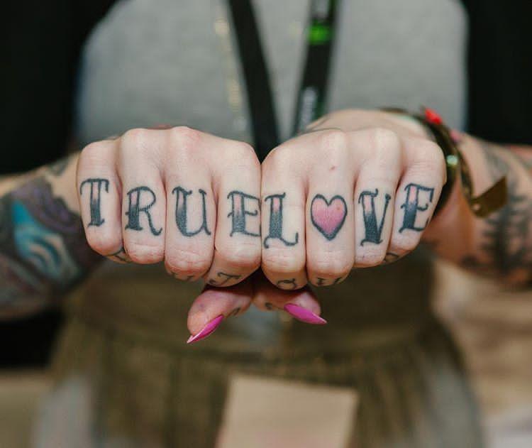 c0bb5474d TRUE LOVE 163/366 #truelove #knuckletattoos #knuckletattoo #knuckles #fists  #hand #fingers #tattoo #tattoos #jobstoppers #ink #inked #font #type  #typeface ...