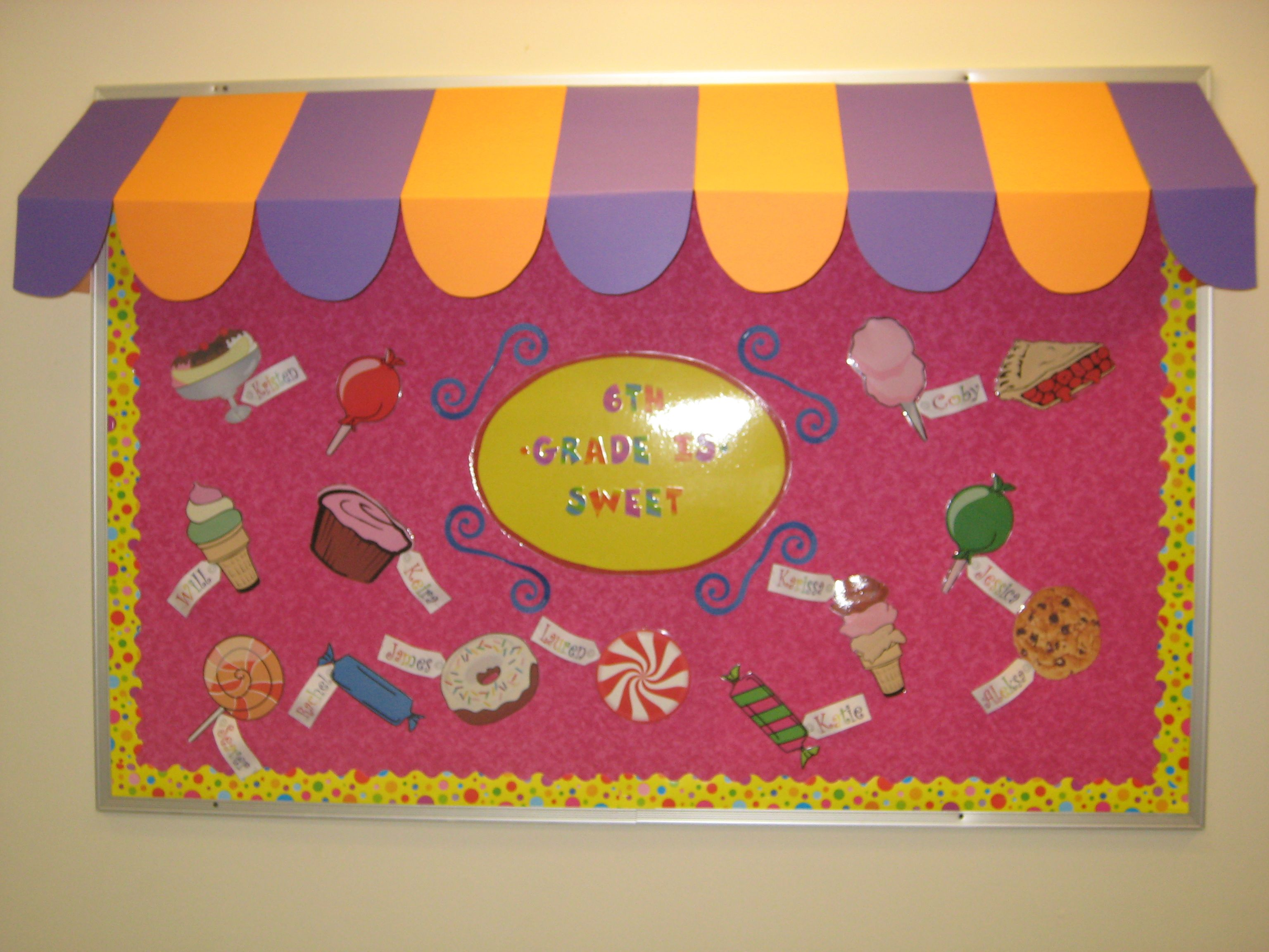 Sweet Shop Welcome Board I Covered Cardboard Boxes With Poster Board To Make The Canopy Candy Theme Classroom Bulletin Boards Kindergarten Classroom Decor