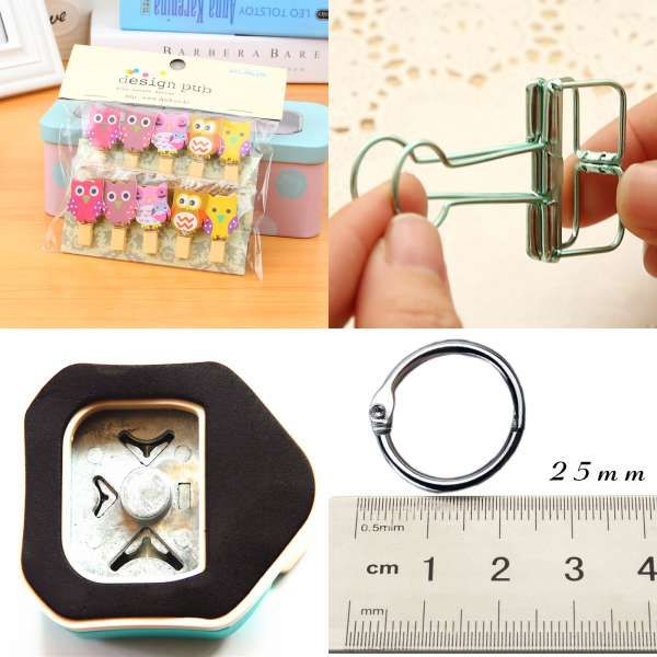 Clips 6pcs 19 X 38mm Printed Metal Binder Clips Paper Clip Clamp Office School Binding Supplies Color Random