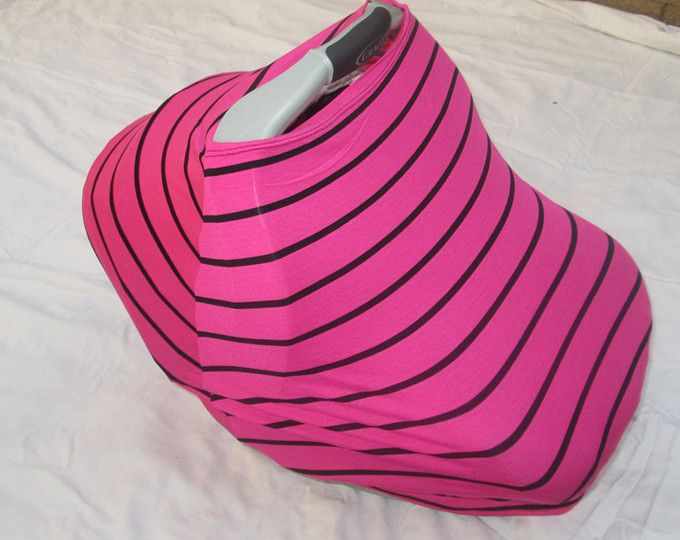 Pink with Black Stripe Stretchy Car Seat Cover / nursing cover by GingerSunshine on Etsy. $25 use the code 2for42 to buy 2 stretchy car seat covers for $42!!