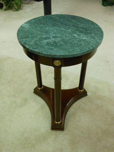 Green Marble Top End Table W/ Mahogany Finish U0026 Brass Base By Bombay | EBay