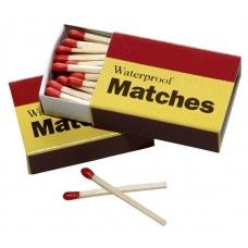 Matches - Box of Waterproof Matches Emergency waterproof matches that work when wet.  These matches will help you light a fire when you need one.  Lighters do not work when wet, neither do wet matches.  Waterproof matches should be in every emergency disaster preparedness survival kit. Try our recently added fire starter, an ideal source of fuel for emergency preparedness and outdoor use.