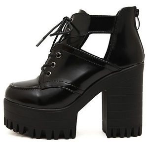 Ladies Chunky Heels Thick Sole Platform Lace Up Ankle