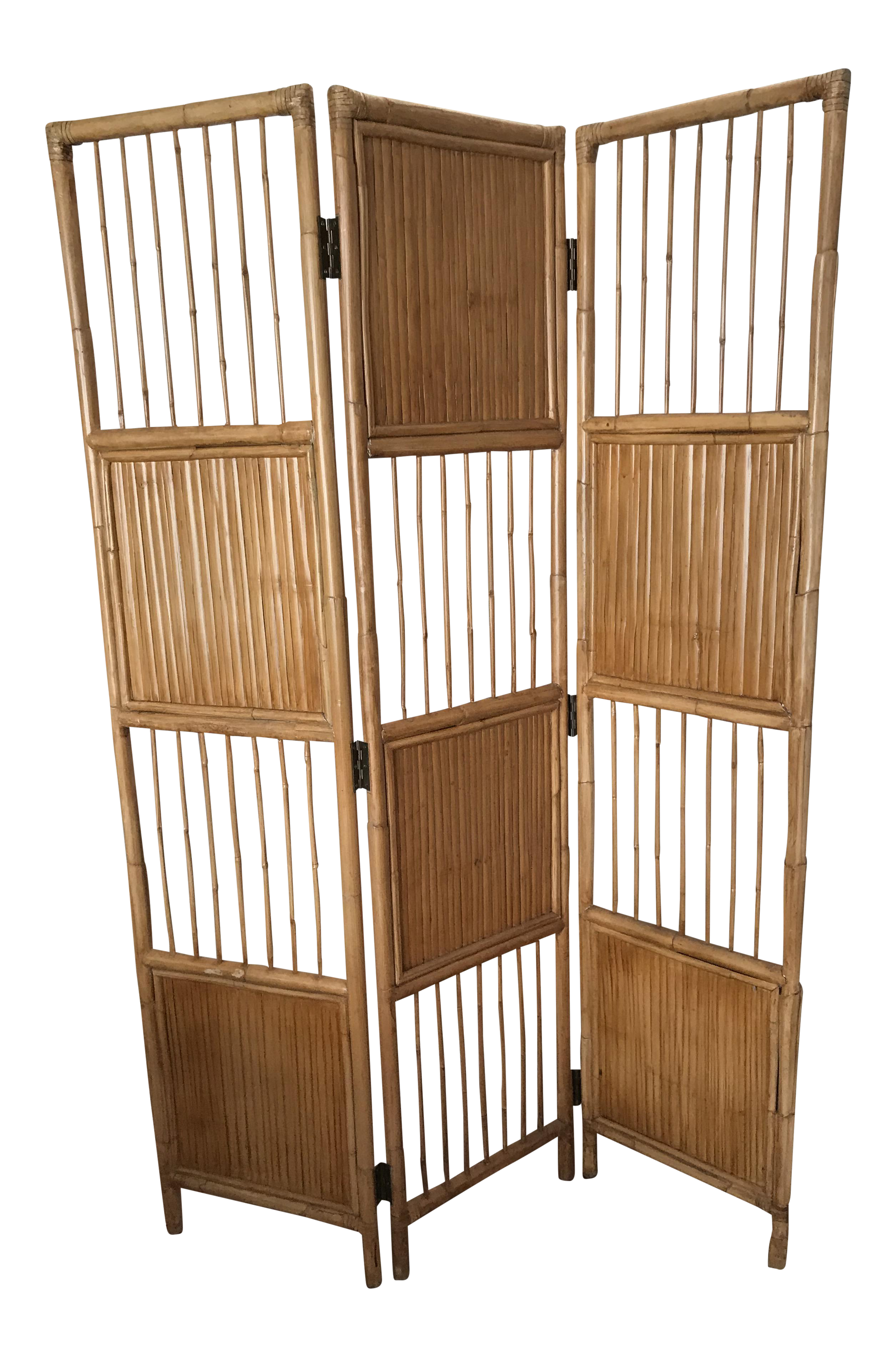 Vintage Pencil Bamboo Room Divider Screen Bamboo room divider
