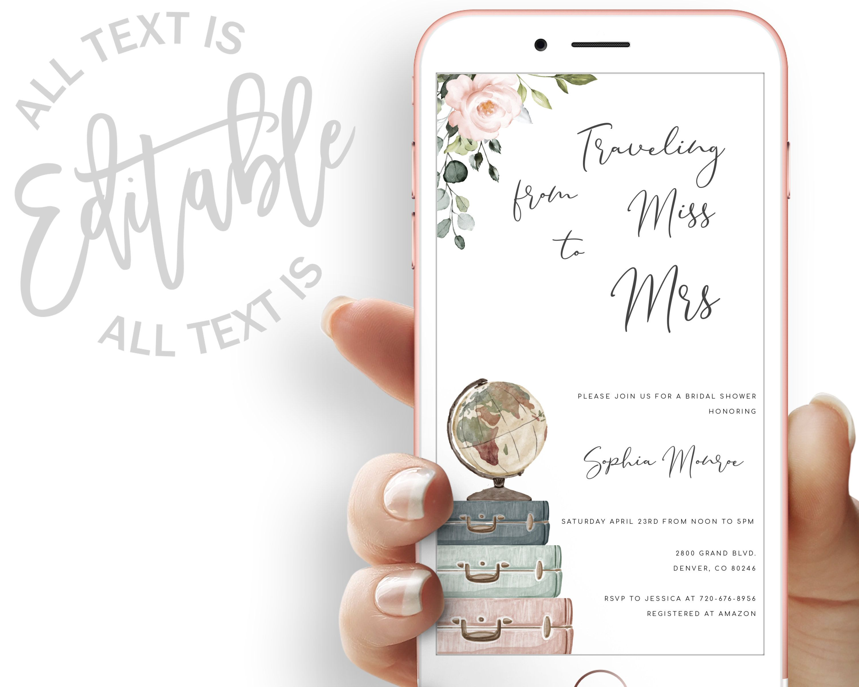 Traveling From Miss To Mrs Bridal Shower Evite Miss To Mrs Etsy In 2020 Electronic Invitations Floral Invitation Bridal Shower