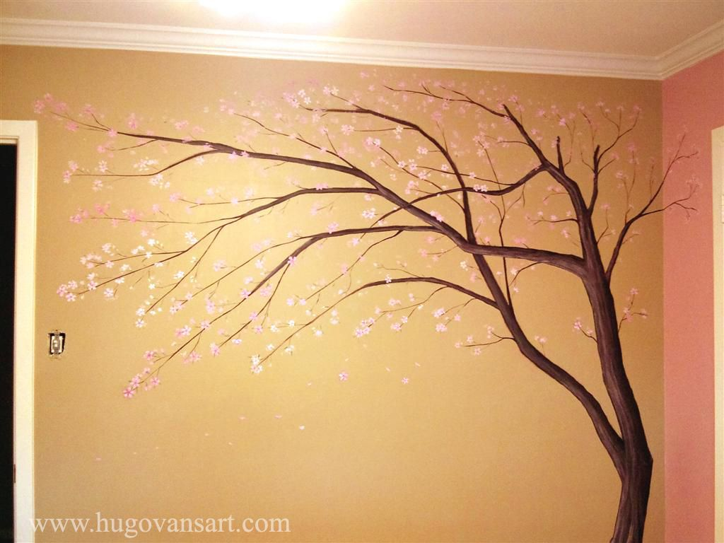 Nursery Wall Art - Bird in Cherry Tree - Cherry Blossoms ...