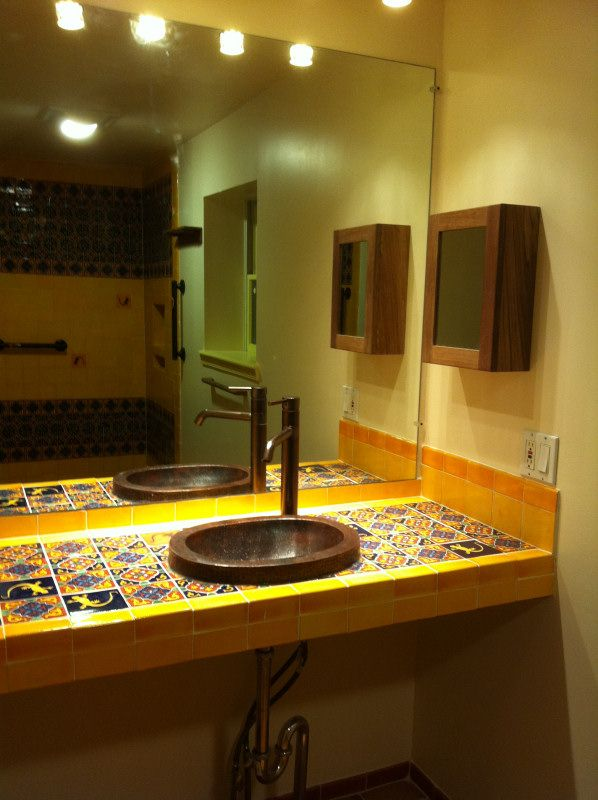 Bathroom Copper Sink On A Mexican Tile Vanity Top, Mexican Home Decor  Gallery. Mission Accesories, Copper Sinks, Mirrors, Tables And More |  Pinterest ...