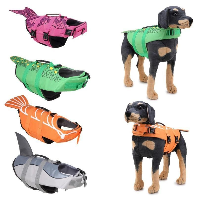 Wantsiepet Dog Swimming Life Jacket Shark Mermaid Goldfish Or Alligator Dog Swimming Dog Raincoat Large Dog Clothes