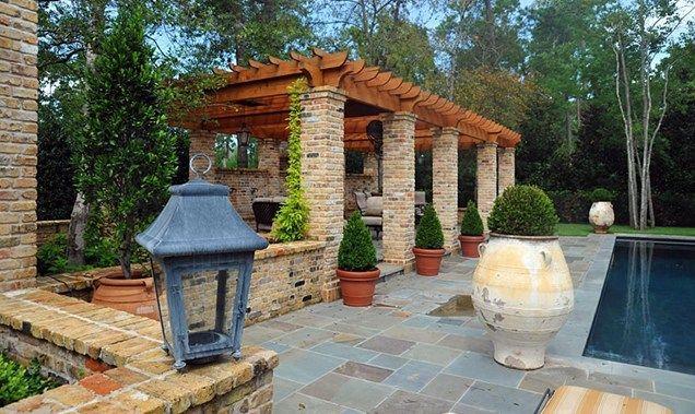 Brick Pergola Posts Pergola And Patio Cover Element Garden Houston, TX