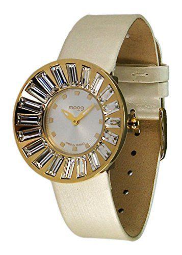 Moog Paris-Sunshine Damen-Armbanduhr Zifferblatt Champagner Armband Weiß Leder Rindleder, hergestellt in Frankreich-m45342-008 - http://uhr.haus/moog-paris/moog-paris-sunshine-damen-armbanduhr-champagner